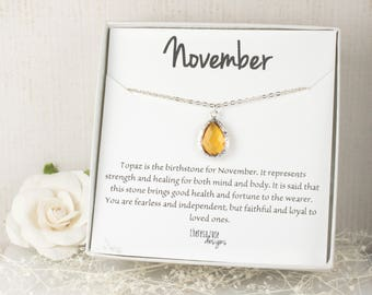 November Birthstone Silver Teardrop Necklace, Topaz Necklace, November Birthday Jewelry, Personalized Silver Necklace