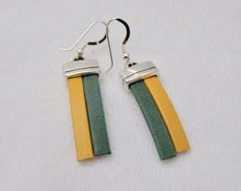 Green and Gold,Earrings,School and Team Colors,Leather Earrings,Sterling Silver,Gift For Her,Accessories,NDSU North Dakota,Wisconsn Packers