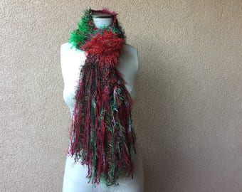 Christmas Scarf with Green. Red Christmas Scarf with Festive Bits of Blue, Gold Yellow White Holiday Clothing