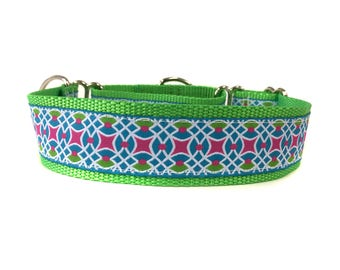 Wide 1 1/2 inch Adjustable Buckle or Martingale Dog Collar in Limeade
