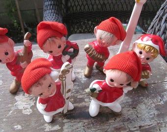 7 piece Norcrest Christmas  pixie choir band, plus lamppole.  vintage 50s 60s