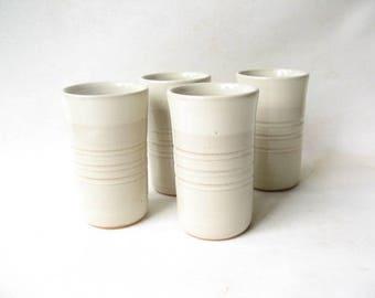 Stoneware Tumblers Set of 4, Pottery Glasses Set of 4