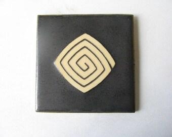 Ceramic Tile with Japanese Design, Decorative Tile, Handmade Tile