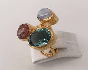 Triple Gold plated  Goldstone, Moonstone,Blue Topaz  ring