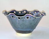 Black and Teal Bowl - Top Edge Fluted and Decorated with Cut-Outs - Perfect Size for a Candy Dish - Wheel Thrown Pottery