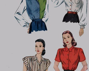 Vintage 1940s Hepburn Style Blouse in 4 Different Varriations Sewing Pattern Simplicity 1538 40s Swing Era Pattern 14 Bust 32