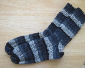 HAND KNIT SOCKS Adult Wool Eclipse Stripes