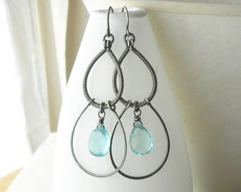 Long Oxidized Sterling Silver Dangle Earrings, Large Antiqued Silver Rustic Earrings With Aqua Quartz Drops, Wire Wrapped Jewelry