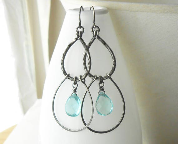 Long Antiqued Silver Wire Wrapped Earrings With Aqua Quartz Drops