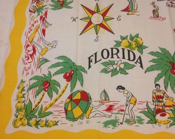 """MINT Florida State Vintage 50s Tablecloth 48 x 54"""""""