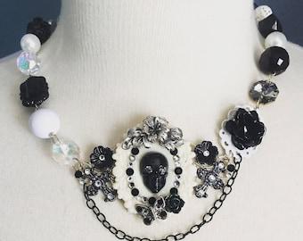 Kawaii Resin Gothic Lolita Skull Bib Statement Necklace