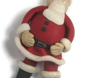 Santa Claus Decoration, Father Xmas Decoration, Santa Figurine, Christmas Figurine, Santa Ornament, Xmas Ornament, Polymer Clay Santa
