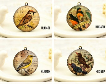 1pcs Vintage Birds Locket Necklace , Antique Bronze Brass Retro Birds Charm Pendant 32mm 25mm 20mm Locket