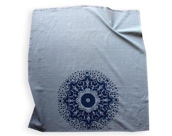 Gray and Navy Blue Mandala Tea Towel - Boho Style Decor - Mandala Tapestry - Blue and Grey Kitchen Decor - Hostess Gift