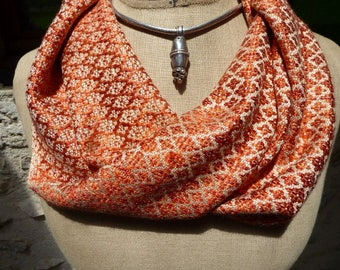 Handwoven Circle Scarf, Gold and Copper Scarf woven by Tisserande