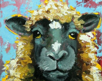 Sheep painting 31 12x12 inch original oil painting by Roz