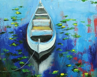 Boat 48 18x24 inch original impressionistic oil painting by Roz