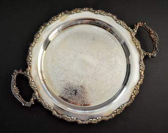 ONEIDA Ornate Serving Tray with Handles {Vintage Round Silver Plated Butler Tray Serving Platter Silverplated Cocktail Tray Ornate Engraved}