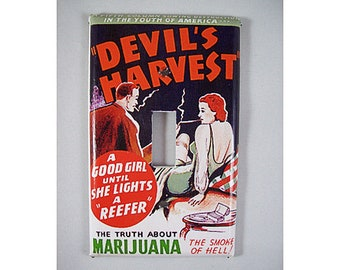 reefer madness era switch plate cover retro vintage marijuana propaganda poster