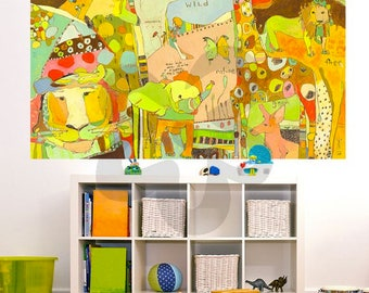 Jungle Animals Wall Mural by Jennifer Mercede 54x72in 'Animal Kingdom'