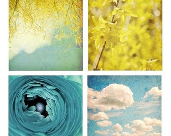 50% OFF SALE Boho Bright Nature Decor Flower Photography Blue and Yellow Wall Art Sky and Clouds Blue Ranunculus A Fine Day Set of Four 8x8