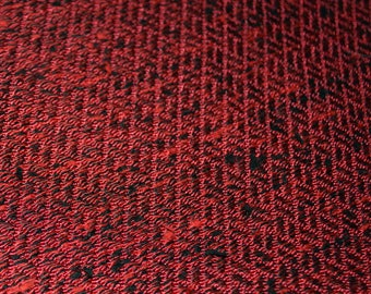 Vintage 50s Mid Century Nubby Red and Black Upholstery Curtain Fabric - MCM