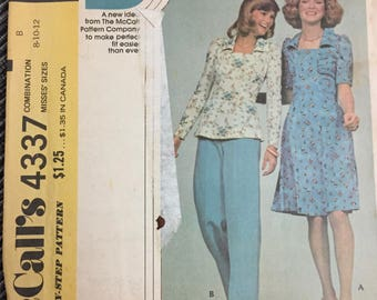 UNCUT Vintage 1974 Misses Dress Or Top Sewing Pattern McCall's 4337  Size 8-10-12 Bust 30-34 Inches Complete