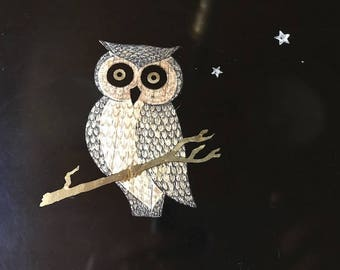 "Who wants to serve their drinks on this great vintage owl tray stars and all Couroc Monterey California 12"" by 9"""