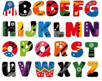 50% OFF SALE Superhero alphabet clipart - ABC Alphabet clip art - digital download - commercial use