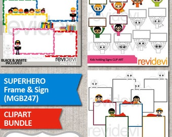 Superhero Clipart sale / Superhero frame and sign / superhero clip art commercial use graphic / multicultural kids / back to school