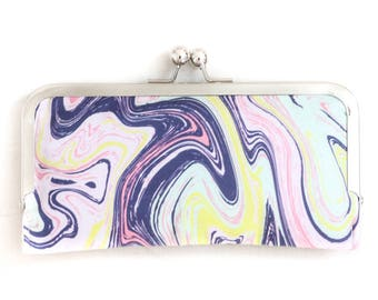 Marble Cell Phone Wallet Clutch with Kisslock Frame Closure in a Marbled Print fabric