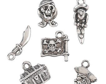 Pirate Charms, 7mm - 15mm x 13mm - 24mm, set of 12