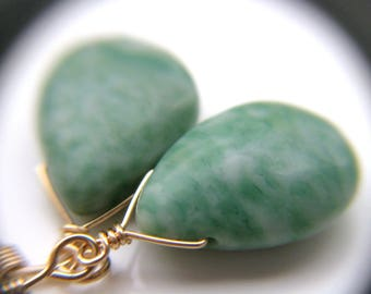 Nature Inspired Jewelry . Green Drop Earrings . Tree Agate Earrings 14k Gold Fill . Wealth and Abundance - Juneau Collection