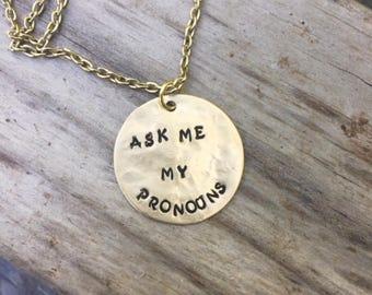Pronoun Necklace, Gender Fluid, Non Binary, LGBTQ, Trans, Pride Jewelry