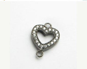 SHOP SALE 14mm Heart Black Rhodium over Sterling Silver and Pave Set White Topaz Loop Connector Ring Link (1 piece)