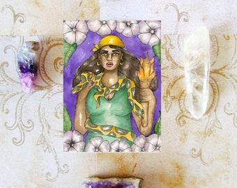 Goddess Art Saint Martha the Dominator Prayer Card Catholic Hoodoo Saint Fantasy Art St Martha Pagan Art Spiritual Magick Voodoo Santeria
