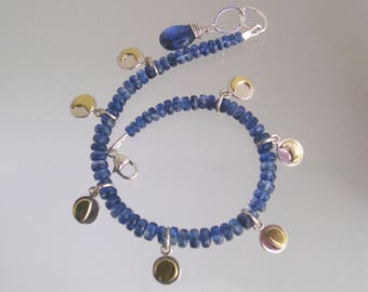 Kyanite Beaded Layering Bracelet with Mixed Metal Phases of the Moon Charms