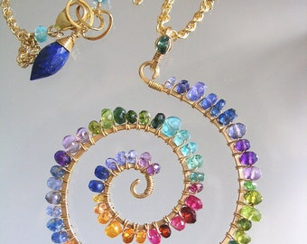 Rainbow Gemstone Spiral Pendant, 14k Gold Filled Chakra Nautilus Necklace, Artist Made Hand Wrought Jewelry