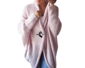 20% WINTER SALE NEW! Plus Size Over Size Pink Wool Overcoat - Poncho - Cardigan