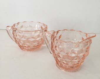 Windsor Pink Depression Glass Pointed Edge Diamond Cut Quilted Sugar Bowl and Creamer Set 1930's 1940's Era Jeannette Glass