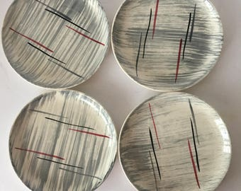 Stetson Hiawatha Prim Rose China Bread Butter Plates Set of Four Replacement Mid Century Hand Decorated Dinnerware Bold Grey and Bugundy
