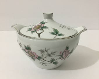Halsey Chantilly Sugar Bowl with Lid Rare Beautiful Japanese Style Floral Silver Metallic Rim Delicate Botanical Floral