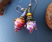 Asymmetrical Lampwork Glass Earrings in Fuchsia Purple and Mustard