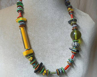 Adira necklace. Full on color, artisan glass art beads, positive energy