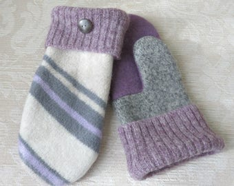 Repurposed Sweater Wool Mittens in Lavender, Gray and Cream, Eco-Friendly Felted Wool Mittens, Adult Size