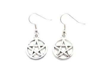 Pentagram Earrings, Pentacle Earrings, Pentagram Earrings For Pierced Ears, Silver Pentagram Earrings,Dangle Earrings,Drop Earrings B4
