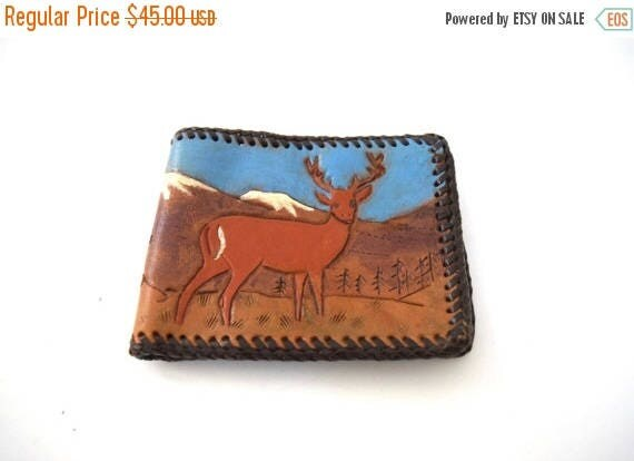 SUMMER SALE / 20% off Vintage 60s 70s Deer and Mountain Scene Tooled and Painted Leather Bifold Wallet