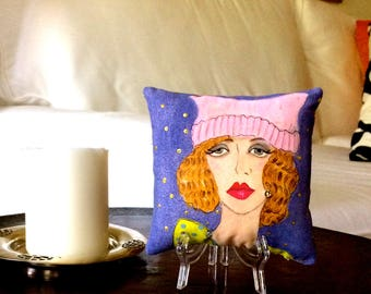 WOMENS MARCH PILLOW, hand painted pillow, pink pussy hat, empowered women pillow, purple background, gift for her, woman quote, 5 in X 5 in