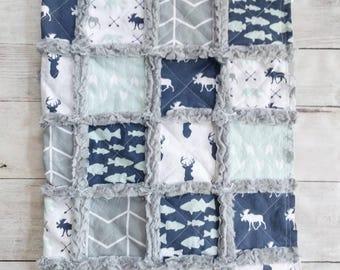 Woodland Rag Quilt for Baby Boy- Deer Quilt - Bear Quilt - Navy Quilt - Mint Green Quilt - Fish Quilt - Baby Boy Bedding - Woodland Nursery