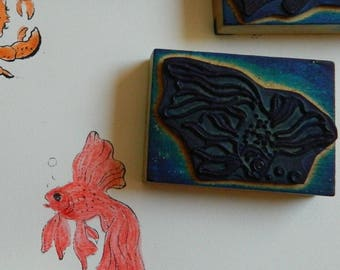 Old French School Rubber Stamps Lot of 4 Fishes  - Vintage rubber stamps - old school rubber stamps 60' - Goldfish ; Pike; Carp; Ray
